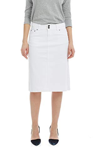 Esteez Women's Denim Skirt - A Line Jean - Below Knee Sydney White 0