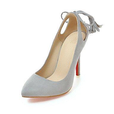 Zapatos de tacones de las mujeres Primavera Verano Otoño Invierno Confort de cuero y de oficina Partido Carrera y noche casual tacón de aguja del Bowknot BuckleYellow Rojo Red