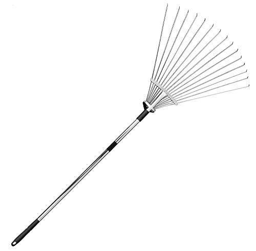 (ICTOLOGY Yard Leaf Rake,Adjustable Handle Rake for Quick Clean Up Garden and Lawn,15 Tines,Telescopic Metal Rake 64 inches)