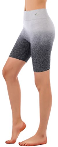 "Freeskin High Waist Ombre Shorts 7.5""Summer Yoga Running Bike Active Shorts Sport Short Power Flex Tummy Control"