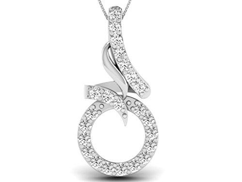 Or Blanc 18 ct Pendentifs Diamant , 0.1 Ct Diamant, GH-SI, 0.578 grammes.