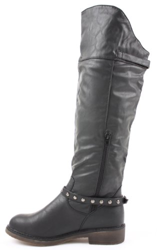 Knee Fur Womens 3 4 Boots Ladies 27 Low Black High Flat Heel 5 6 Size Style Riding Style 8 7 Winter 0rqBw80