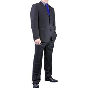 B00B4X7V72 Figlio Lontano Slim Fit Suit – Flat Black-Size: 42R-Sleeve: Regular-Chest: 42