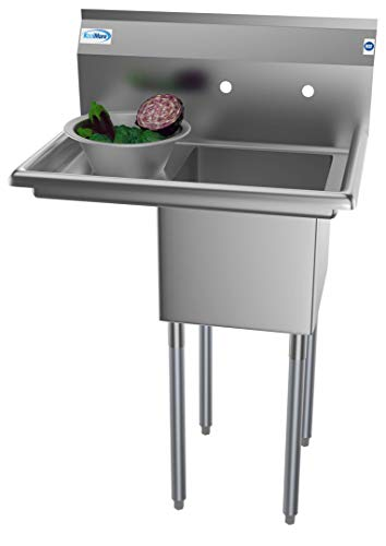 KoolMore 1 Compartment Stainless Steel NSF Commercial Kitchen Prep & Utility Sink with Drainboard - Bowl Size 14