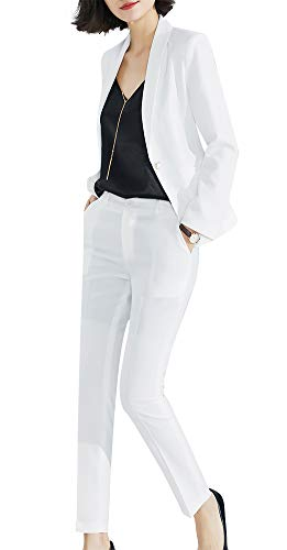 (Women's Two Pieces Blazer Office Lady Suit Set Work Blazer Jacket and Pant (WhiteKZ2-689, L))