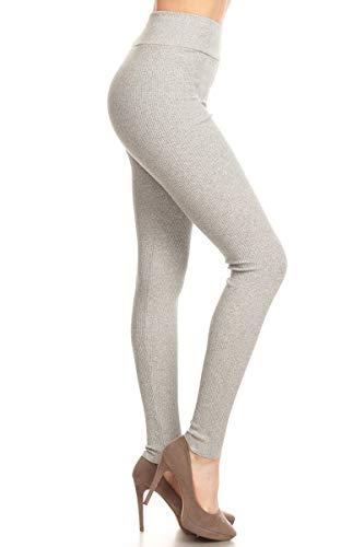 Leggings Ribbed - Leggings Depot HRL128-LIGHTGRAY-M Ribbed Knit Jogger High Waist Track Pants, Medium