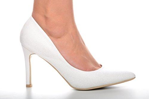 Blanco Brocado Rutilar Zapatos Puntiagudo Talones de Novia Zapatos de Boda