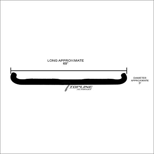 Topline Autopart 3 Black Side Step Nerf Bars Rail Running Boards For 82-03 Chevy S10 ; 82-90 GMC S15 ; 91-03 Sonoma Extended Cab