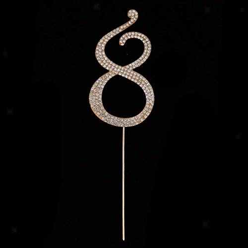Bling Rhinestone 0 to 9 Cake Topper Wedding Birthday Anniversary Table Numbers |Number - Gold 8|