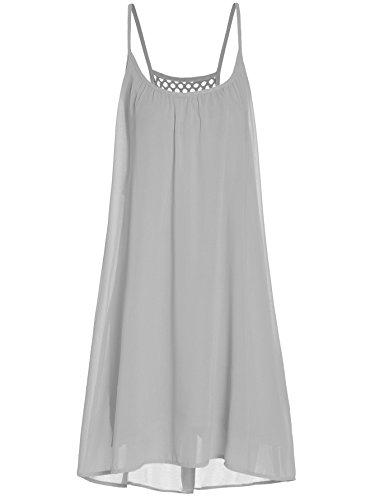 ROMWE Women's Spaghetti Strap Sundress Hollow Out Summer Chiffon Beach Short Dress Grey XS