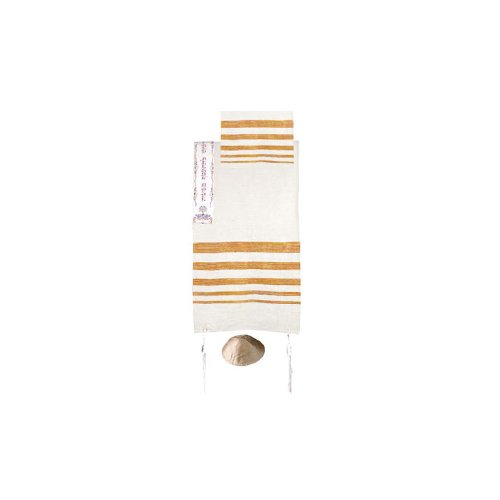 Yair Emanuel Hand Woven Raw Silk Tallit with Orange Stripes and Red Embroidery by World Of Judaica