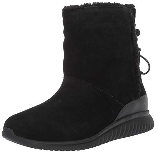 Cole Haan Women's Studiogrand Slip-ON Boot Waterproof Ankle, Black Suede WP/Faux Shearling/, 7.5 B US (Cole Haan Short Boots For Women)