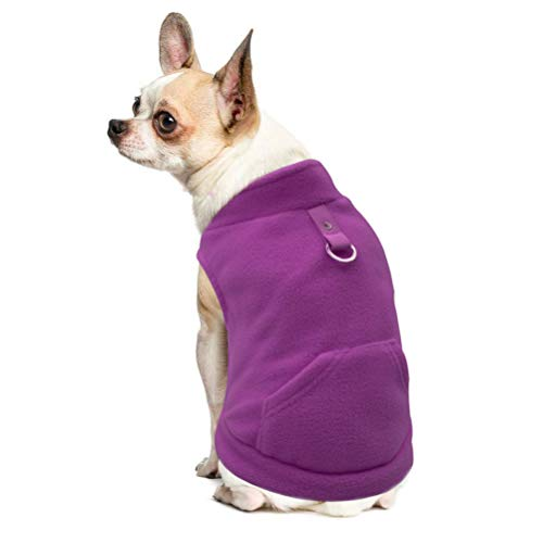 Polyester Harness Pullover - EXPAWLORER Fleece Autumn Winter Cold Weather Dog Vest Harness Clothes with Pocket, Purple Large