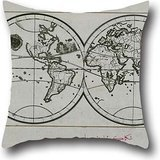 (Oil Painting Piri Reis - World Map In A Double Hemisphere Pillow Covers 18 X 18 Inches / 45 By 45 Cm For Monther,indoor,chair,bedroom,office,kids Room With Twice Sides)
