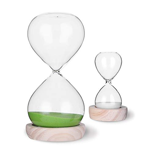 Wooden Sand Timer - Hourglass Sand Timer Set-30 Minute & 5 Minute Timer Sets-Sand Clock Timers for Room Kitchen Office Decor -Time Management Tool with Wooden Base Stand