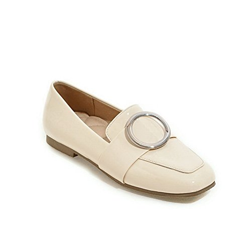 BalaMasa Ladies Pull-On Square-Toe Solid Urethane Flats-Shoes Beige CM51EkoB