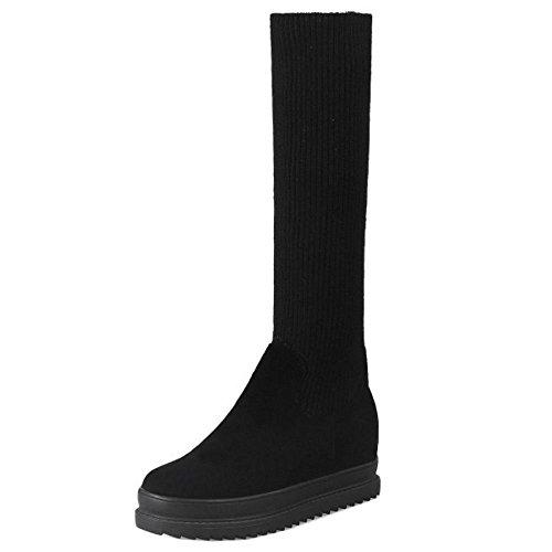 Knit TAOFFEN On Women's Pull Boots Black 1wFY5ZxFUq