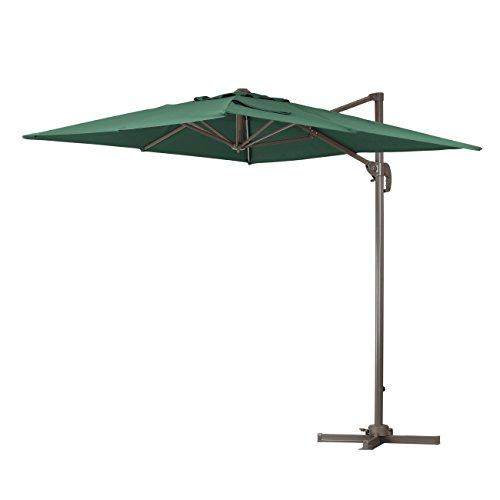 Square Garden Parasol (Green Garden Deluxe 6.5 x 10 Feet Cantilever Offset Patio Umbrella Square Parasol Infinite Tilt Position with Cross Base)