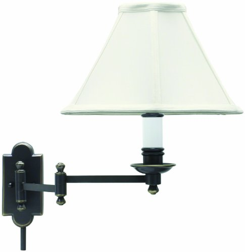 Swinging Wall Lamp (House Of Troy CL225-OB Club Collection Wall Sconce with Swinging Lamp, Oil Rubbed Bronze with Off White Soft Shade)