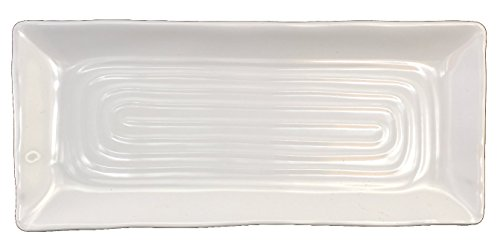 "Lucky Star Melamine Rectangular Dinner Serving Plate, White, 12-pcs per case (1 dozen) (10-1/2"" L X 4-1/2"" W)"