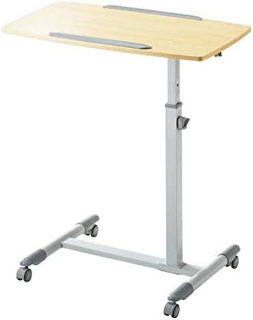 アルミニウム合金 高さ調節 可移動デスク キャスター付き 木目調濃度良好 付き,オフィスワークテーブル 机上デスク 高さ調節可能、ロック可能なキャスター