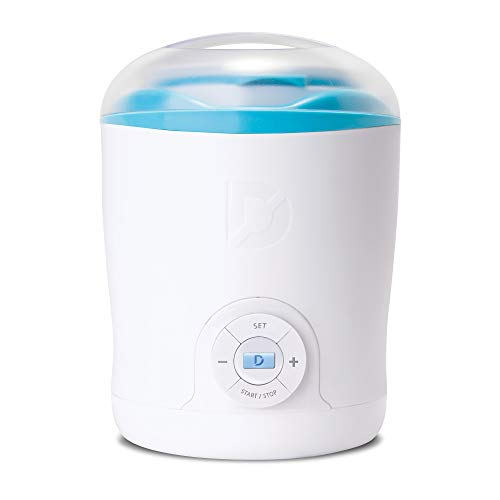 Dash DGY001WBU Greek Yogurt Maker Machine with LCD Display + 2 BPA Storage Containers with Lids: Perfect for Organic, Sweetened, Flavored, Plain, or Sugar Free Options for Baby, Kids, Parfaits, White