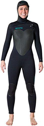 Hyperflex Wetsuits Women's Voodoo 4/3mm Hooded Front Zip Fullsuit, Black, 10