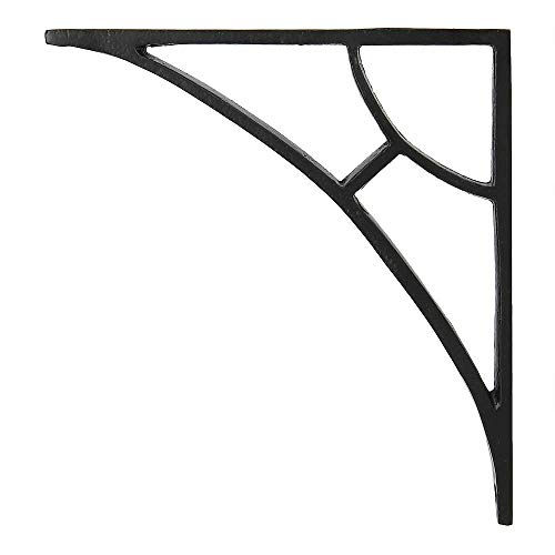 Set of 4, Classic 6 1/2 inch Iron Shelf Brackets with Black Powder Coat Finish Heavy Duty Adjustable Support Brackets Easy Installation Hardware -
