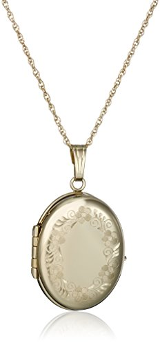 14k Yellow Gold Engraved Oval Four-Picture Locket, 20'' by Amazon Collection