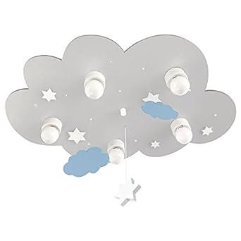 Deckenleuchte Wolke grau mit Wolken und Sternen - E14 - 10 LED Lichtpunkte