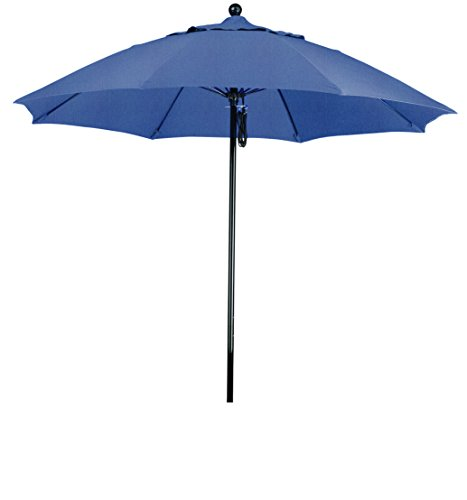 (Eclipse Collection 9' Complete Fiberglass Market Umbrella Pulley Open Black/Sunbrella/Spectrum Indigo)