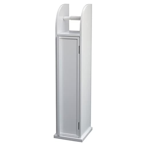 Mobiletto Porta Carta Igienica.In Legno Bianco Con Supporto Portarotolo Carta Igienica
