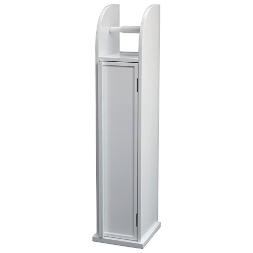 In legno bianco con supporto portarotolo carta igienica - Porta carta igienica da terra ...
