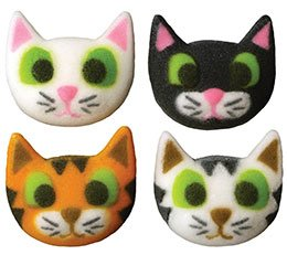 Kitty Cat Assortment Edible Sugar Decorations for Cakes and Cupcakes/Food Decorations 24 count