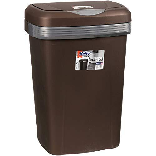 Hefty 13-Gallon Premium Touch Lid Waste Basket, Bronze (1)
