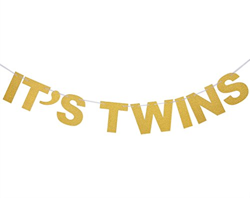 INNORU It's Twins Banner Gold Glitter Baby Show