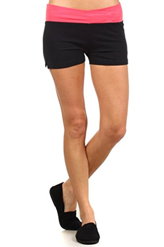 - MOPAS Yoga Shorts with Fold Over Solid Waistband Coral Size M