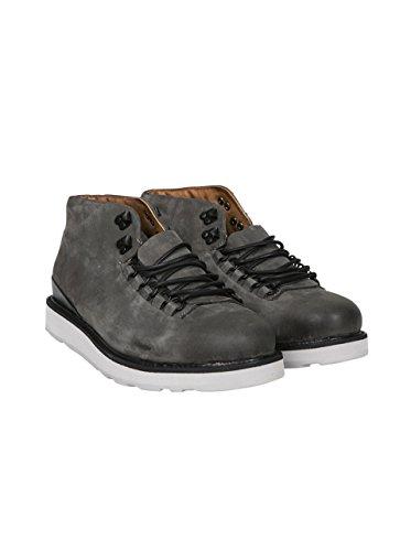 Blackstone Herren Schnürschuhe in Grauem Leder Graphite