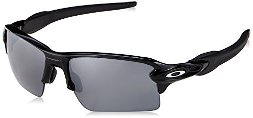 Oakley Men's OO9188 Flak 2.0 XL Rectangular Sunglasses, Polished Black/Prizm Black Polarized, 59 mm