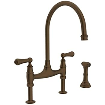 Rohl U.4719L-EB-2 Perrin and Rowe Deck Mount Bridge Kitchen Faucet ...