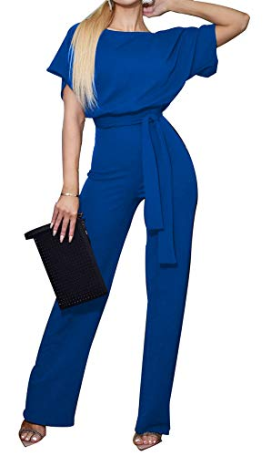 BTFBM Women Short Sleeve Casual Loose Fit Long Pant Jumpsuits Romper with Belt (Blue, X-Large)