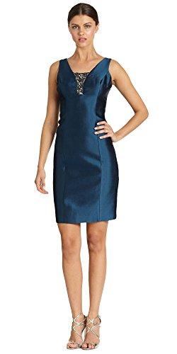 Teri Jon Blue Gazar Beadedinset Cocktail Dress (4)