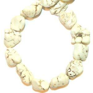 """NG2523 Creamy White Turquoise Medium 18mm Nugget Magnesite Gemstone Bead 15"""" Making Beading Beaded Necklaces Yoga Bracelets"""