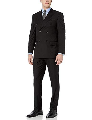 Adam Baker by Mantoni Men's M40901 Double Breasted Wool Suit - Black - 40R