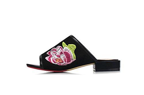 Black Embroidery Women's Heel Toe Peep Mule DecoStain Low S4qgP