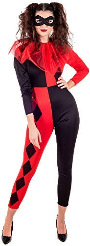 Ladies Twisted Black Red Harlequin Jester TV Book Film Comics Halloween Fancy Dress Costume Outfit (UK 8-10)