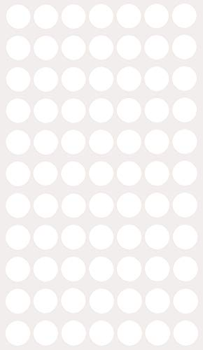 White Stickers dots Coding Labels Removable Adhesive (Approx ~ 5/8 inch 19/32) - 15mm Great Circle Stickers - 385 Pack by Royal Green