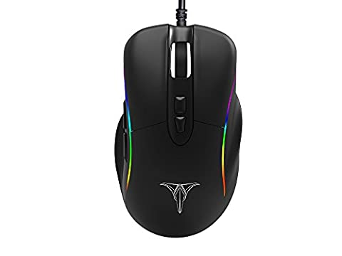 Talentech Ember Plus High Precision Optical Wired Gaming Mouse Mice for PC / Mac for Pro Gamer, Ergonomic Design, Programmable, 7 Buttons, PMW3325 Sensor, MMO/MOBA/FPS, MAX 10000 DPI - - Optical Sensor