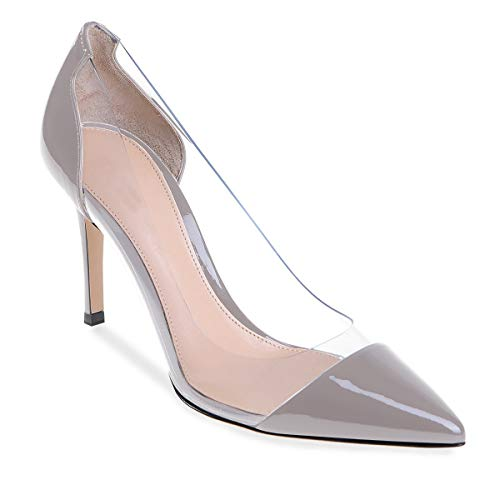 Shoes Transparent gray Event Huomautti Hääpuku Toe Kärki Silver Korkokengät Stilettos Pumput Korkokenkiä Heel Womens Pointed Eldof Naisten Läpinäkyvä Tapahtuma Pvc High Pumps Kengät Dress Cap 10cm Korkki Wedding Hopeanharmaa H7RqaT
