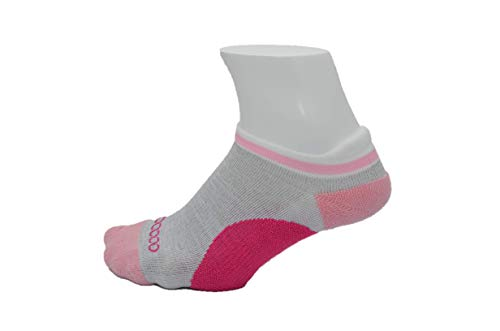 Women's Athletic Blister Free Socks | No Smell Silver Fiber| Gray & Pink S/M ()